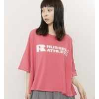 RUSSEL ATHLETIC×DOUBLE NAMEコラボビッグシルエットTEE【ダブルネーム/DOUBLE NAME レディス Tシャツ・カットソー レッド ルミネ LUMINE】