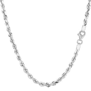 14k White Gold Solid Diamond Cut Royal Rope Chain Necklace, 3mm, 24""