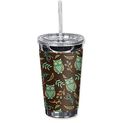 """Mugzie Brown Owls-TGC""""Brown Owls"""" To Go Tumbler with Insulated Wetsuit Cover, 470ml, Black"""