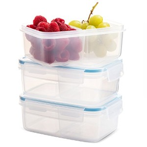 Komax Biokips食品ストレージコンテナお菓子30oz。With Dividers (セットof 3)–Airtight、Leakproof with Locking Lids–...
