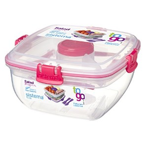Sistema To Go Collection Salad to Go Food Storage Container, 37 oz, Pink by Sistema