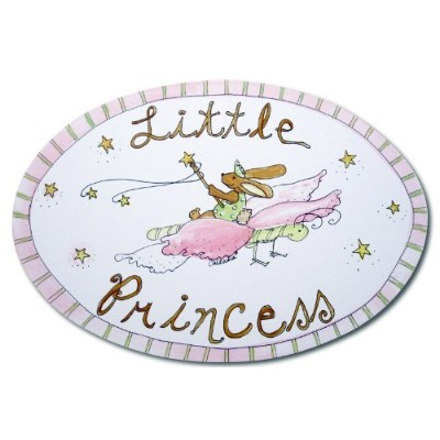 The Kids Room by Stupell Little Princess Bunny on a Butterfly Oval Wall Plaque by The Kids Room by Stupell
