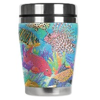 "Mugzie Coral Reef "" Mini "" Travel Mug with Insulatedウェットスーツカバー、12オンス、ブラック"