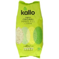Kallo Organic Natural Puffed Rice Wholegrain Cereal 225 g (Pack of 4)