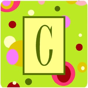 "Caroline 's Treasures cj1010-cfc monogram-green Foam Coasters ( Set of 4 )、初期文字C、3.5 "" H x 3.5 "" W..."