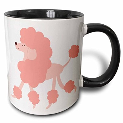 (330ml) - 3dRose 3dRose Cute Pink Poodle - Two Tone Black Mug, 330ml (mug_124545_4), Black/White