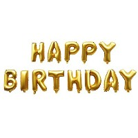 """Langxun 13 Alphabet Letters Balloons """"HAPPY BIRTHDAY"""" Thickening Gold Foil Digital Air-filled ..."""
