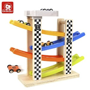 Top Bright Wooden Ramp Race Track with 4Cars For Toddlers–BPAフリー