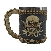 KW CollectibleギフトCo。Medievalトライバルスカルスケルトンコーヒーマグカップ3dゴシックOssuary Style Drinking Tankard Stein