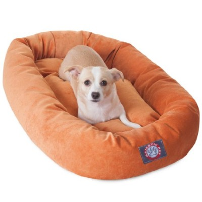 32 inch Orange Villa Collection Micro Velvet Bagel Dog Bed By Majestic Pet Products by Majestic Pet