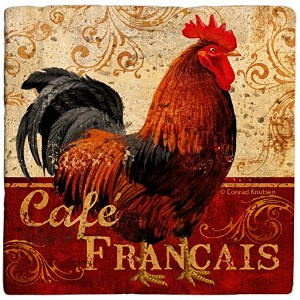 Thirstystone AWCM3 Travertine Coaster Set - Cafe Francais Rooster