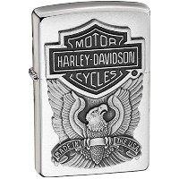 Zippo Harley Davidson HD Eagle Logo Emblem Brushed Chrome 200HD.H284
