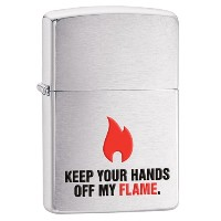 ZIPPO(ジッポー) 28649 KEEP YOUR HANDS OFF MY FLAME Brushed Chrome/ブラッシュ つや消し FULL SIZE ZIPPO LIGHTER...