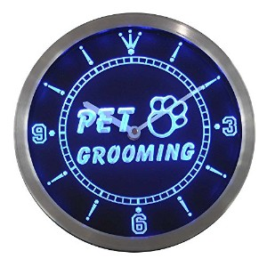 LEDネオンクロック 壁掛け時計 nc0291-b Pet Grooming Dog Cat Shop Neon Sign LED Wall Clock