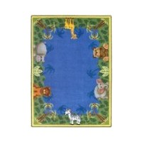 Joy Carpets Kid Essentials Infants & Toddlers Oval Jungle Friends Rug, Multicolored, 3'10 x 5'4 by...