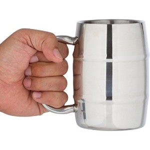 Insulated Coffee Mug & Beer Mug / 16.9 Oz. by Bar Brat: Forget Glass / Bonus Lid Included / Perfect...