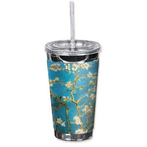 "Mugzie 130-tgc "" Van Gogh : Almond Blossoms "" To Go Tumbler with Insulatedウェットスーツカバー、16オンス、ブラック"