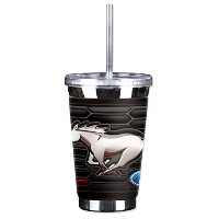 Mugzie Ford Mustangグリルロゴto Go Tumbler with Insulatedウェットスーツカバー、16オンス、ブラック