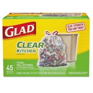 Recycling Tall Kitchen Trash Bags, Clear, Drawstring, 13 Gal, 45/box, 4 Bx/ct by Glad