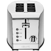 KRUPS KH732D Breakfast Set Toaster with Brushed and Chrome Stainless Steel Housing, 2-Slice, Silver...