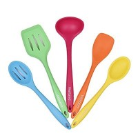 Welland 5-Piece Premium Silicone Kitchen Utensil Set Including 1 Turner,2 Spoons, 1 Spatula & 1...
