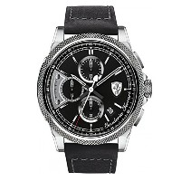 フェラーリ Ferrari Men's 0830275 FORMULA ITALIA S Stainless Steel Watch with Black Leather Band [並行輸入品]