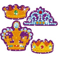 Trend Enterprises トレンド Sparkle Stickers Large Crowning Moments 【ごほうびシール】 キラキラ 王冠 ご褒美シール 大 (40枚入り)