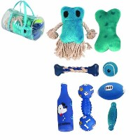 8 Piece Duffle Bag Pet Toy Set, One Size, Blue by Pet Life