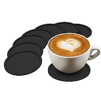 Drink Coasters Set of 8, High Quality Silicone, Good Grip and Eco-friendly, Deep Tray Protects Your...