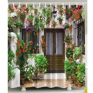 Spanish Garden House Shower Curtain Polyester Fabric Flowers Vines Floral Green
