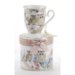 Porcelain Tea / Coffee MUG IN MATCHING Decoraiveボックス、Owls
