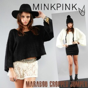 SALE MINK PINK【ミンクピンク】MARABOU CROPPED JUMPER もこもこルーズ セーター 雑誌掲載【ca】 セレブ 愛用 【楽ギフ_○○】【RCP】 05P03Dec16