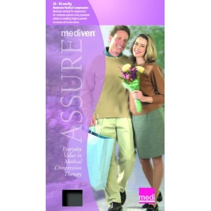 Mediven Assure, Closed Toe, 20-30mmHg, Knee High Compression Stocking, Large, Black by Medi