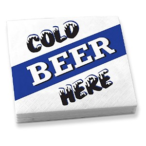 Epic Products Cold Beer Here Beverage Napkins ( 20)のセット、マルチカラー