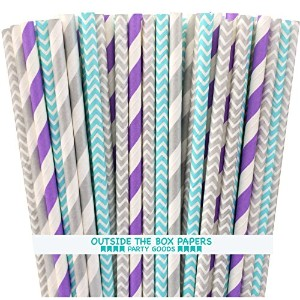 Outside the Box Papers Frozen Theme Chevron and Striped Paper Straws 7.75 Inches Light Blue, Silver...