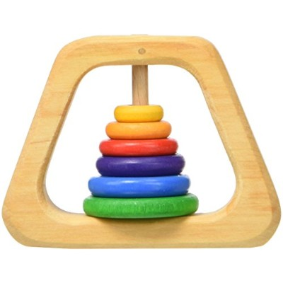 Grimm's Natural Wood Pyramid Baby Rattle & Teether with 6 Rainbow Colored Rings by Grimm's Spiel &...