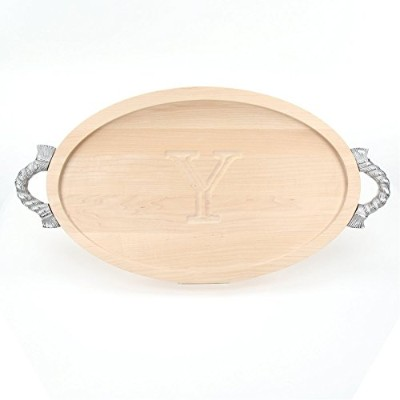 BigwoodボードOval Trencher Carving Board with Largeロープハンドルでキャストアルミニウム、15インチby 24インチby 1.75-inch、モノグラム...