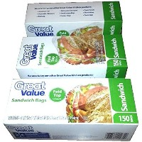 150 Count 6.5 x 5.5 x 1 (16.5cm x 13.9cm x 2.54cm) Sandwich Bags Great Value (total of 450 bags) by...