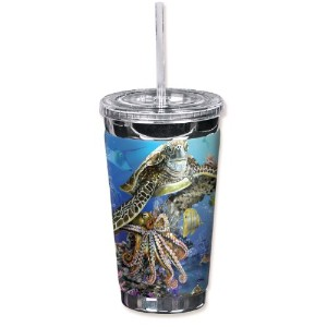 "Mugzie 718-tgc "" Sea Life "" to go Tumbler with Insulatedウェットスーツカバー、16オンス、ブラック"