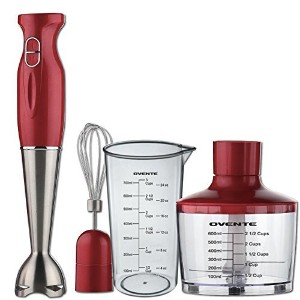 Ovente Kitchen HS585R Stainless Steel Immersion Hand Blender Set with Chopper, Metallic Red [並行輸入品]