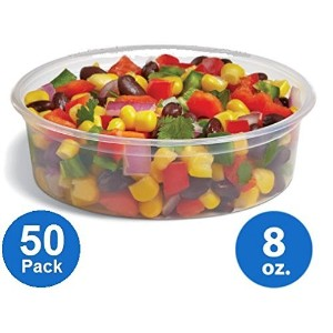 [50pk] Plastic Food Storage Containers with lids - Foodsavers Deli Cups / Foodsavers for Portion...