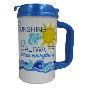 Sunshine and海水32オンス断熱Travel Mug with Lid