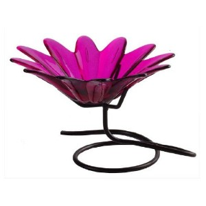 Colorful Daisy Shaped Glass Serving Chip & Dip Dish or Candy Nut Bowl ~ G149 Fuchsia Table Top...