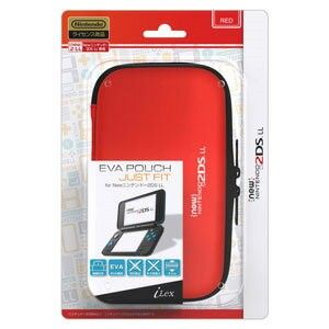 【New2DS LL】EVA Pouch Just Fit for New ニンテンドー 2DS LL(レッド) アイレックス [ILX2L231 2DSLLエヴァポーチジャストフィットレッド]...