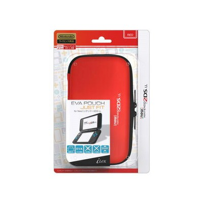 【New2DS LL】EVA Pouch Just Fit for New ニンテンドー 2DS LL(レッド) アイレックス [ILX2L231 2DSLLエヴァポーチジャストフィットレッド]