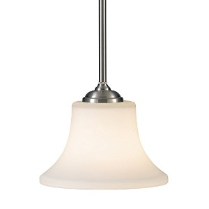 Murray Feiss P1117BS Barrington Collection 1-Light Mini-Pendant, Brushed Steel Finish with Opal...