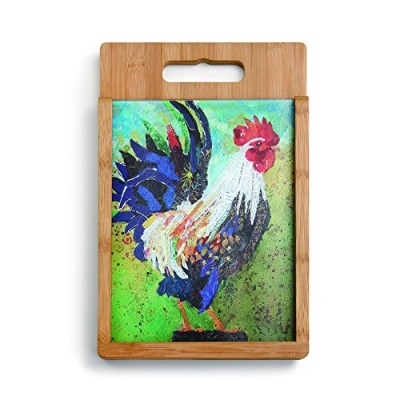 Demdaco Rooster Wood and Glass Cutting Board Set, Multicolor