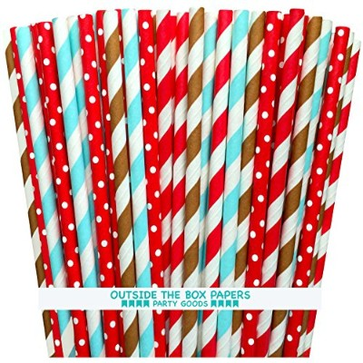Outside the Box Papers Sock Monkey Theme Polka Dot and Striped Paper Straws 7.75 Inches Brownk, Red...