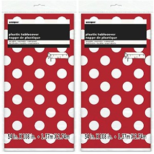 Polka Dot Plastic Tablecloth, 270cm x 140cm , Red (Red 2-PACK))