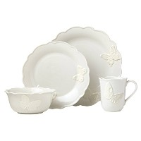 LenoxバタフライMeadow Carved食器類4Piece Place Setting 871859